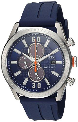 Citizen Men's 'Drive' Quartz Stainless Steel and Polyurethane Casual Watch, Color:Blue (Model: (Citizen Chronograph Watch)