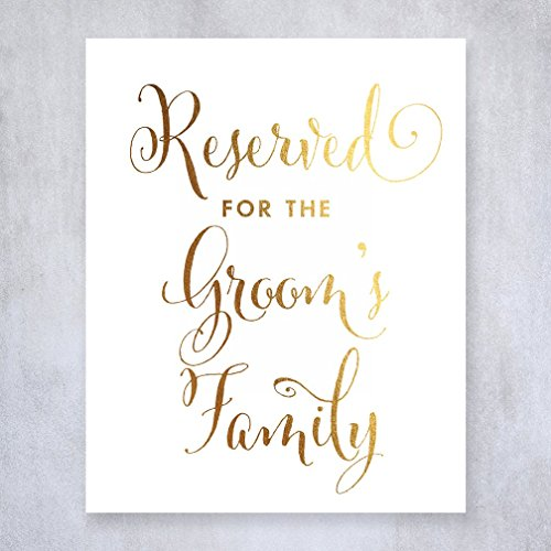 Reserved for Groom's Family Gold Foil Small Sign Wedding Reception Signage 5 inches x 7 inches E11