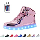 WONZOM FASHION High Top Velcro LED Light Up Shoes 7 Colors USB Flashing Rechargeable Walking Sneakers For Kids Boots With Remote Control(Toddler/Little Kids/Big Kids)-34(Shining Pink)