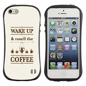 Suave TPU GEL Carcasa Funda Silicona Blando Estuche Caso de protección (para) Apple Iphone 5 / 5S / CECELL Phone case / / Wake Up Quote Brown Text /