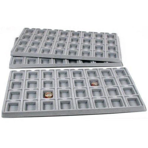 (FindingKing 3 Gray 32 Slot Puff Earring Cards Showcase Display Tray Inserts)