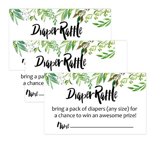 50 Greenery Diaper Raffle Tickets for Girl or Boy Baby Shower Invitations,Baby Shower Game, Bring a Pack of Diapers to Win Favors,