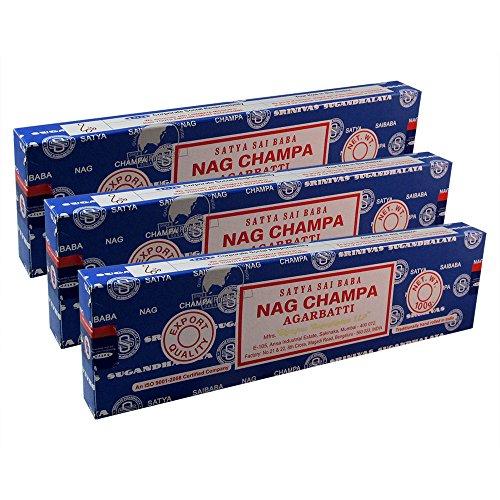 Satya Sai Baba Nag Champa Agarbatti Pack of 3 Incense Sticks Boxes 100gms Each Supreme Quality Incense Sticks for Purification, Relaxation, Positivity, Yoga, Meditation