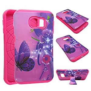 For Samsung Galaxy Edge S6 Kickstand Pink Flower Butterfly Hybrid Box High Impact Shock Defender Dual Layer Plastic Outside with TPU Inside Drop Defender Snap-on Protector Cover Case