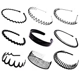 9 Pcs Simple Toothed Slip Hairpin Hoop Washing Clip Headband Hairpin Tide Jewelry for Women Girl Lady(Black)