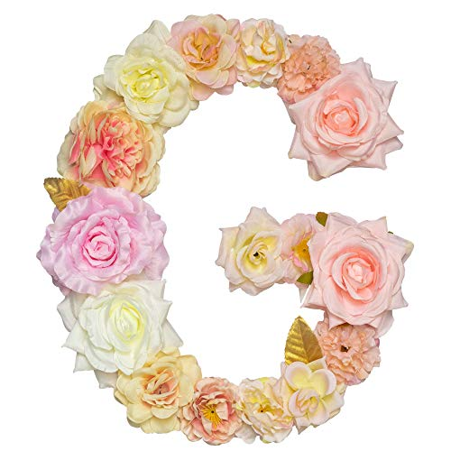 Artificial Pink Floral Decorative Letters, Alphabet Letters With Fake Flowers For Special Occasion/ Event , 12.2