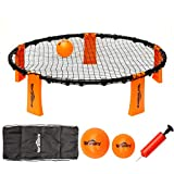 Volleyball Spike Game Set - Slam Ball Game Set - Played Outdoors, Indoors,Beach, Backyard, Tailgate for Kids,Adults,Family - Set Includes 3 Balls,1 Playing Nets,1 Pump,Carry Case,Rules Book