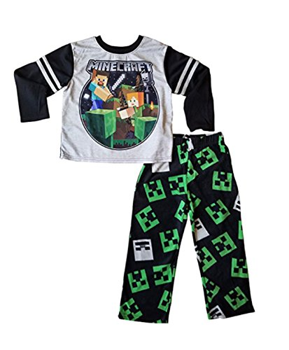 Minecraft Steve Alex Skeleton Pajamas for Boys with Long Sleeves and Fleece Pants (L - Novelty Minecraft