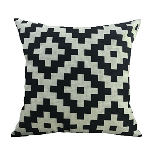 (NATURALSHOW Cotton Linen Home Decorative Aztec Print Tribal Throw Pillow Case Cushion Cover for Sofa Couch Chair Geometric Pattern, Black and White Pattern Pillowcases)