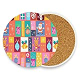 Coasters for Drinks,Merry Christmas Cute Ceramic Round Cork Trivet Heat Resistant Hot Pads Table Cup Mat Coaster-Set of 4 Pieces