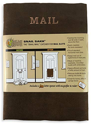 SNAIL SAKK: Mail Catcher For Mail Slots - CHOCOLATE. No tools/screws necessary! Space efficient, reduces drafts, and more! For home, office, and garage doors. | Basket, Letter Cage, Door, Bag | ()