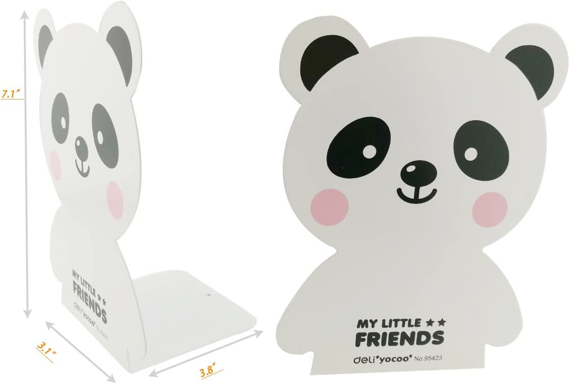 A Pair of Cute Cartoon Panda Bear Pattern Nonskid Metal Bookends Book Organizer Holder for Home Office Study Decor