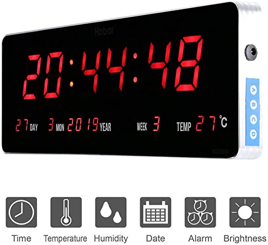 Jeffergarden Inicio Reloj de Pared Digital Grande Led Calendario ...
