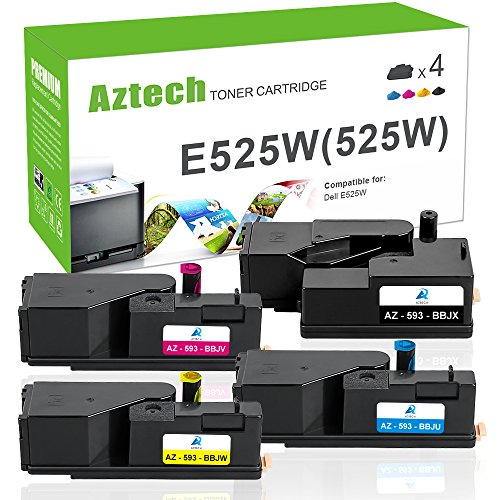 Aztech 4 Pack Black Cyan Magenta Yellow Compatible For Dell E525w Dell 525W Toner Cartridge Replaces Dell 593 Bbjx 593 Bbju 593 Bbjv 593 Bbjw E525w E525 525 Toner For Dell Mfp E525w