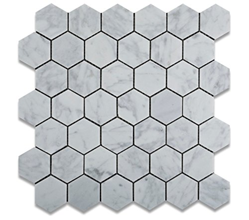 Carrara White Marble 2 Inch Hexagon Mosaic Tile - Polished