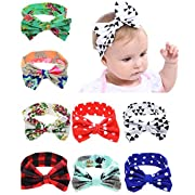 QandSweat Baby Girl's Elastic Headbands with Hair Bows Turban Knotted Hair Band (8Pack)
