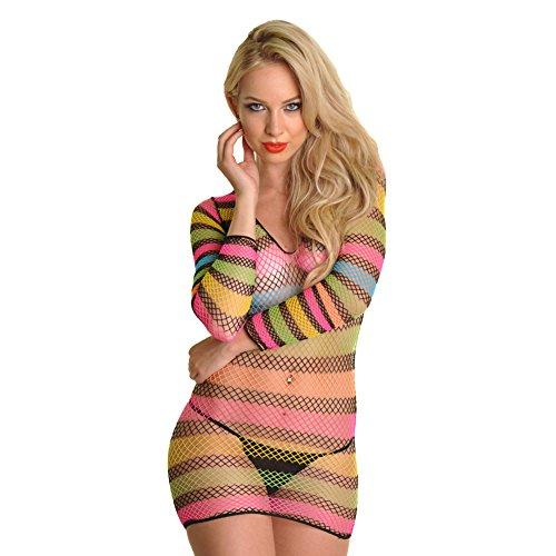 Angelina Neon Stripe Long Sleeves Fishnet Top/Mini Dress, #70402