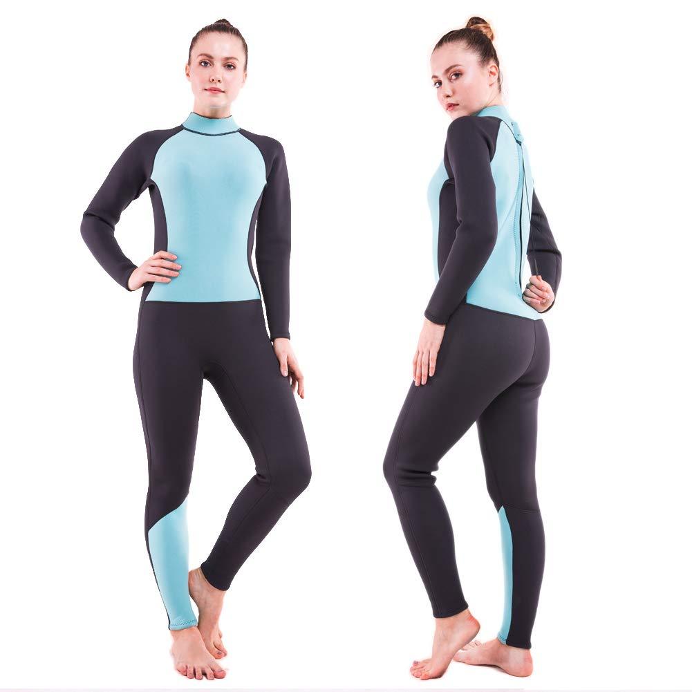 DEHAI メンズ レディース ウェットスーツ ショート/フルスリーブ 3mm ネオプレン ユース大人用 スーツ ダイビング 水泳 シュノーケリング サーフィン スキューバ ジャンプスーツ 暖かい 男の子 女の子 水着 B07MNNQT3Q Women's Fullsuit 3/2mm - Lake Blue Small Small|Women's Fullsuit 3/2mm - Lake Blue