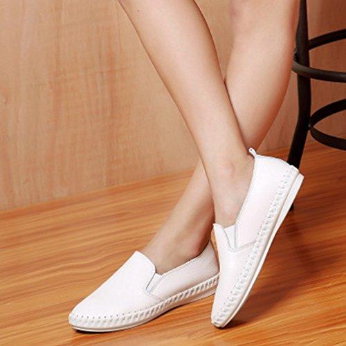 Dames Casual Loafers Comfort Flats Ronde Neus Instapperige Klassieke Penny Loafer Schoenen Zwart Wit Wit