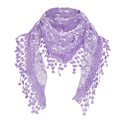 HHBack Women Lace Sheer Floral Scarf Shawl Wrap Tassel New Ladies Women's Colony Flamboyance of Solid Colour Travelling Touring Fringe Square Cotton Linen Stole Muffler Beach(Purple)]()