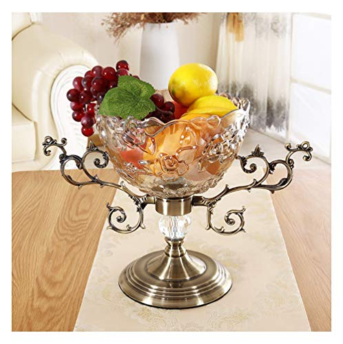 OPPALE European Glass Fruit Bowl Plum Blossom Fruit Bucket Carved Flower Embossed Flower Glass Fruit Bowl Home Crafts Decoration Fruit Plate -Fruit basket