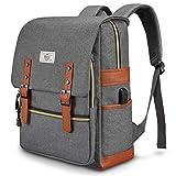 Unisex College Bag Fits up to 15.6'' Laptop Casual Rucksack Waterproof School Backpack Daypacks (Gray)