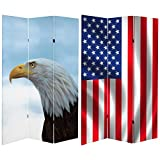 ORIENTAL FURNITURE Tall Double Sided Spirit of America Canvas Room Divider, 6'