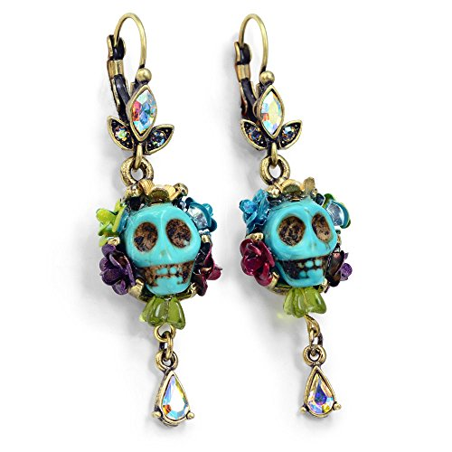 [Skull Earrings, Day of the Dead Skull Earrings, Dia de los Muertos Earrings, Pinup Jewelry, Sugar Skull Jewelry, Colorful Skull Earrings, Mexican Jewelry (Turquoise)] (Dia Dangle Earrings)
