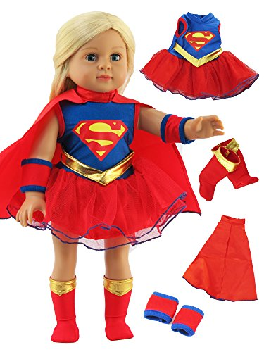 Super Girl Costume - 18 Inch Doll Clothes - Fits 18
