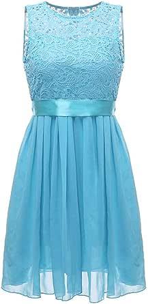 Fashion Women Chiffon Lace Dress Sleeveless O Neck Solid Color Elegant Princess Party Dress