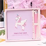 Large Size Unicorn Notebook with Cute Unicorn Pen and 160 pages, a Perfect Gift Box Set for Unicorn's Fan Journals Diary Sketchbook Study Notebook Wonderful Kids Unicorn Gift (Pink)