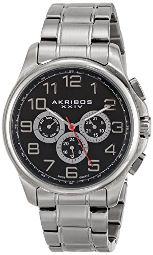 - Akribos XXIV Men's AK748 Multifunction Swiss Quartz Movement Watch with Engraved Sunburst Dial Stainless Steel Bracelet (silver)