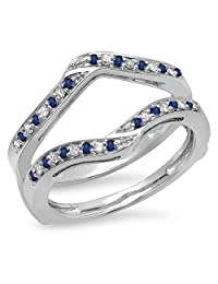 14K Gold Round Blue Sapphire & White Diamond Ladies Anniversary Wedding Band Enhancer Guard Double Ring