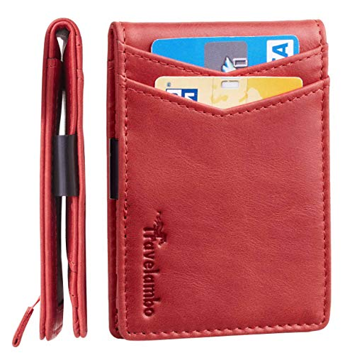 Travelambo Mens RFID Blocking Front Pocket Minimalist Slim Genuine Leather Wallet Pull Tab Money Clip (Vintage Red)