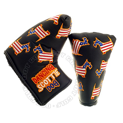 19th Hole Custom Shop US Flag Dancing Scottie Dog Headcover for Blade and Midsize Mallet Putter, Black, Golf Head Cover