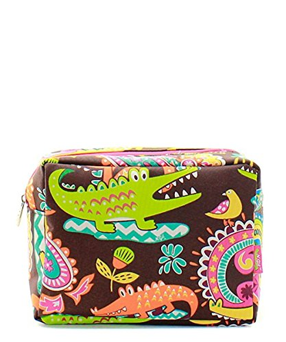 N. Gil Large Travel Cosmetic Pouch Bag (Crocodile Hot Pink) -