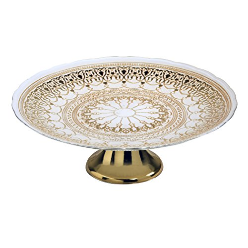 Amici Home, 7CF019R, Mandala Collection Footed Glass Cake Plate, White and Gold Design, Handcrafted Glassware, 13 Inch Diameter (Collection Footed Cake Plate)