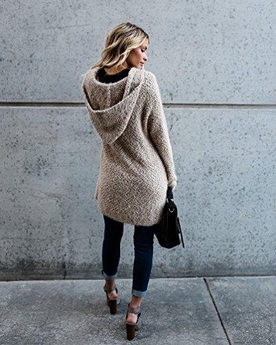 In Jacket Casual A NiSeng Maglia Irregolare Loose Elegante Cardigan Donna Maniche Cachi Cappuccio Maglione Lunghe 110vq8w4