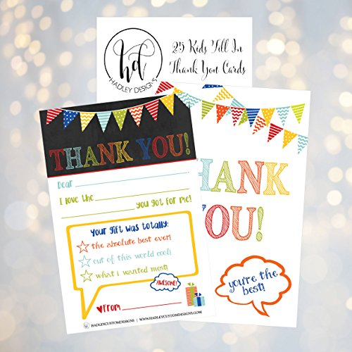 25 Rainbow Banner Kids Thank You Cards, Fill In Thank You Notes For Kid, Blank Personalized Thank Yous For Birthday Gifts, Stationery For Children Boys and Girls Photo #3