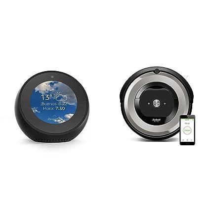 Echo Spot negro + iRobot Roomba e5154 - Robot Aspirador Óptimo Mascotas, Succión 5 Veces