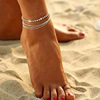 Hemlock Foot Chain, Womens Multilayer Silver Crystal Anklet Chain Ankle Foot Bracelet Jewelry (Silver)