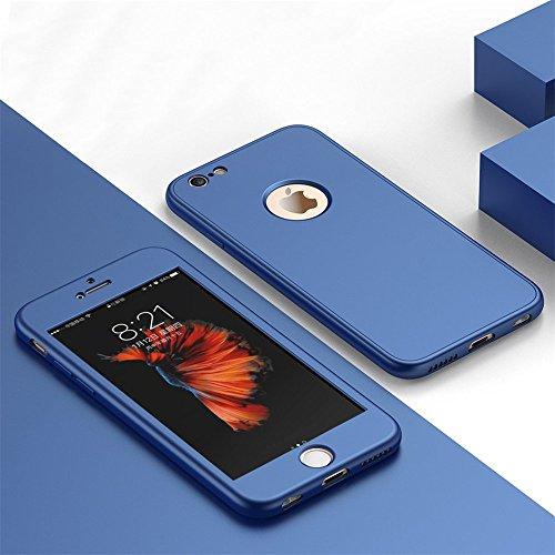 Coque iPhone 6/6S, Coque iPhone 6 Plus/6S Plus Case 360 Degree Protection TPU 3 en 1 Full Cover Adamark Housse Integrale Bumper Etui Case Protège Écran en Verre Trempé Pour iPhone 6/6S Plus Bleu