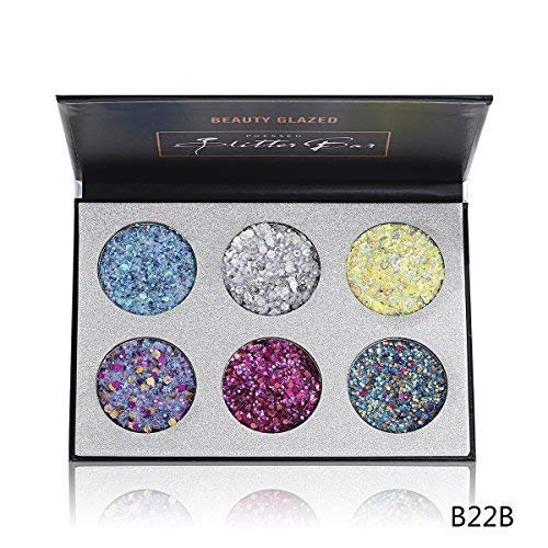 Beauty Glazed 6 Colors Big Bar Pigment Long Lasting Diamond Sequins Eyeshadow Glitter Shimmer Eye Shadow Pallete Maquiagem Cosmetics Eyeshadow Palette Style 2