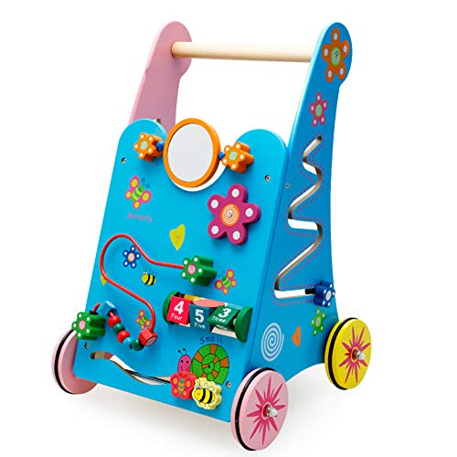 ROCK1ON Wooden Baby Learning Walker Toys,Rich Activity Center,Push and Pull Toddler Toy for 18 Month,Early Dvelopment