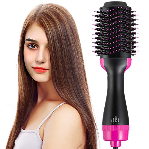 Hot Air Brush Volumizer Hair Dryer Curly Hair Comb One Step Ceramic Hot Air Brush 2-in-1 Infrared Negative Iron Hot Air Combing Curly Straight Dual-use Hair Dryer Styling Comb Black Purple