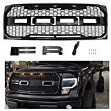 Seven Sparta Raptor Style Grill for Ford F150 2009-2014, Front Grill for F150, Gloss Black
