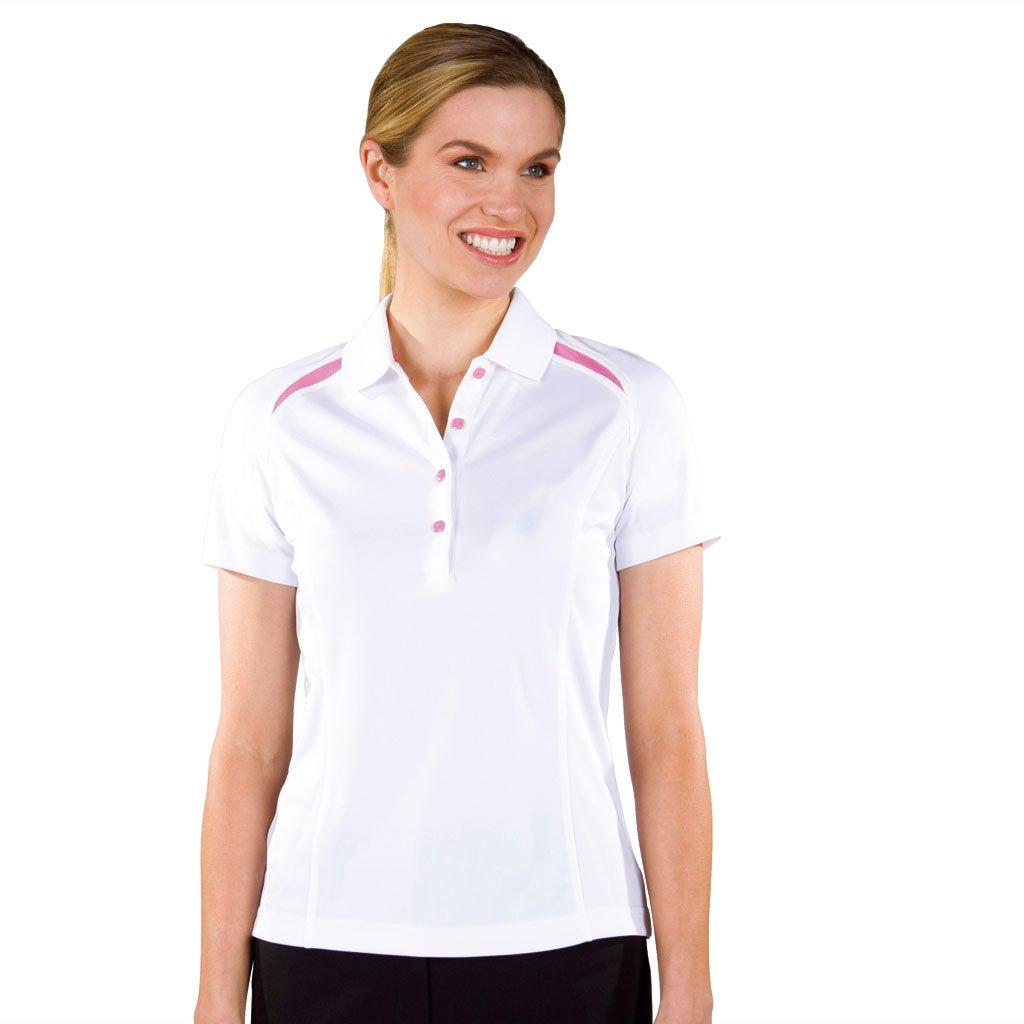 Monterey Club Ladies Dry挿入スイングミニショルダーカラーブロックコントラストシャツ# 2269 Large White/Tropical Pink B00BR2AJ1U