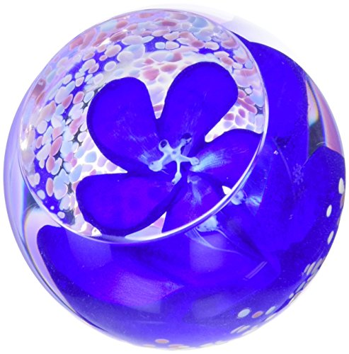 Caithness Glass Crystal Sapphire Blossom Paperweight, Blue