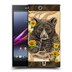 Head Case Designs Bear Stipple Art Protective Snap-on Hard Back Case Cover for Sony Xperia Z Ultra C6802