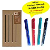 Midori Traveler's notebook Accessories 021 - Connecting Bands for Regular Size + 2 random colors Delat erasable pens(Black,Red,Blue or Green)